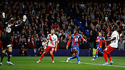 Wilfred Zaha watches his header sail over during the Capital One Cup match between Crystal Palace and Charlton Athletic at Selhurst Park, London, England on 23 September 2015. Photo by Michael Hulf.