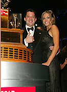 NEW YORK - DECEMBER 6: Tony Stewart and fiancee pose with 2002 Winston Cup at the 2002 Nascar Winston Cup Series Award Ceremony at the Hammerstein Ballroom, December 6 2002 in New York City.   (Photo by Matthew Peyton)