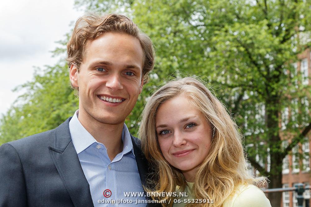 NLD/Amsterdam/20150620 - Huwelijk Kimberly Klaver en Bas Schothorst, Pim Wessels en partner Pip Pellens