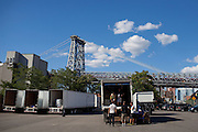 The crew unpacks and sets up for Station to Station's kick-off at Riverfront Studios in Brooklyn, New York September 6, 2013.