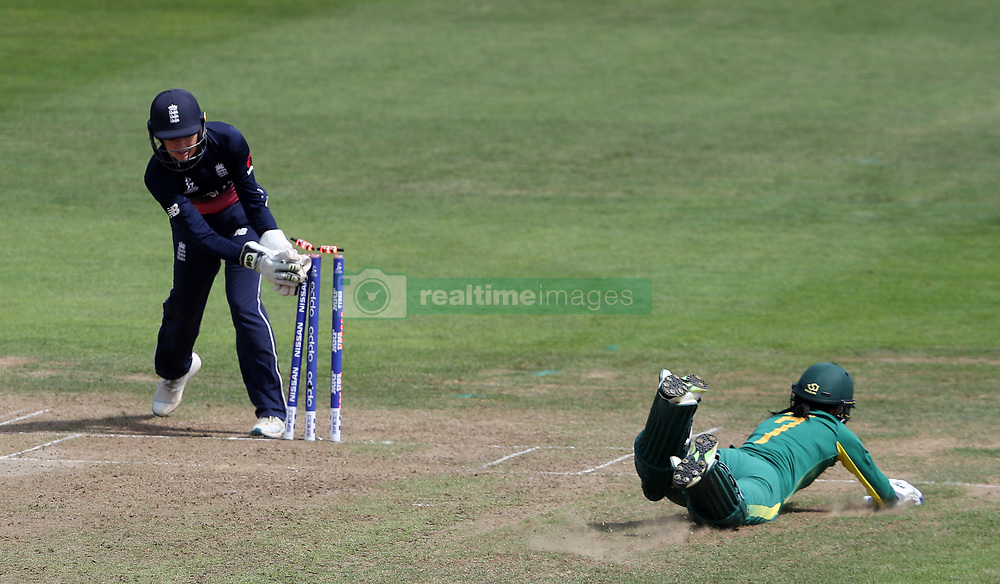 South Africa's Marizanne Kapp is run out by England's Sarah Taylor during the ICC Women's World Cup Semi Final match at The County Ground, Bristol.