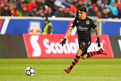 March 13, 2018 - Harrison, NJ, U.S. - HARRISON, NJ - MARCH 13:  Tijuana midfielder Luis Mendoza (26) during the second half of the CONCACAF Champions League Quarter-final match between the New York Red Bulls and Club Tijuana on March 13, 2018, at Red Bull Arena in Harrison, NJ.  (Photo by Rich Graessle/Icon Sportswire) (Credit Image: © Rich Graessle/Icon SMI via ZUMA Press)
