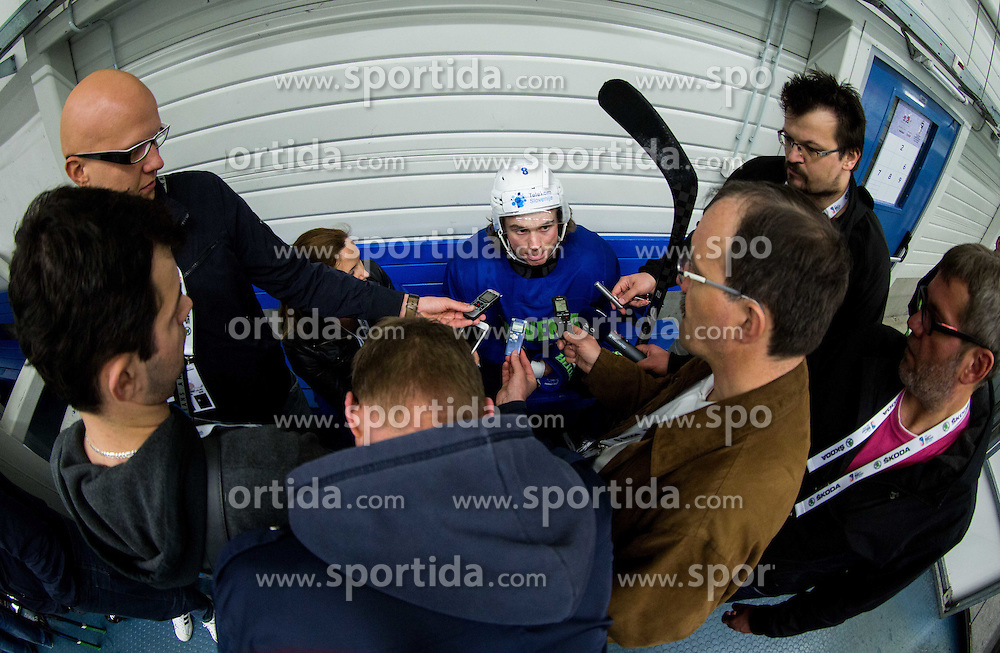 Ziga Jeglic of Slovenia with journalists  after the practice session of Slovenian Ice Hockey National Team at Day 4 of 2015 IIHF World Championship, on May 4, 2015 in Practice arena Vitkovice, Ostrava, Czech Republic. Photo by Vid Ponikvar / Sportida