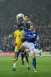 CARDIFF, WALES - Tuesday, January 24, 2012: Cardiff City's Kenny Miller in action against Crystal Palace's goalkeeper Julian Speroni during the Football League Cup Semi-Final 2nd Leg at the Cardiff City Stadium. (Pic by David Rawcliffe/Propaganda)