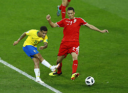 June 27, 2018 - Moscow, Russia - Group E Serbia v Brazil - FIFA World Cup Russia 2018.Andrija Zivkovic (Serbia)  tackles on Coutinho Philippe (Brazil) at Spartak Stadium in Moscow, Russia on June 27, 2018. (Credit Image: © Matteo Ciambelli/NurPhoto via ZUMA Press)