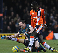 Picture by David Horn/Focus Images Ltd +44 7545 970036.05/01/2013.Arnaud Mendy (right) of Luton Town and Anthony Forde of Wolverhampton Wanderers during the The FA Cup match at Kenilworth Road, Luton.