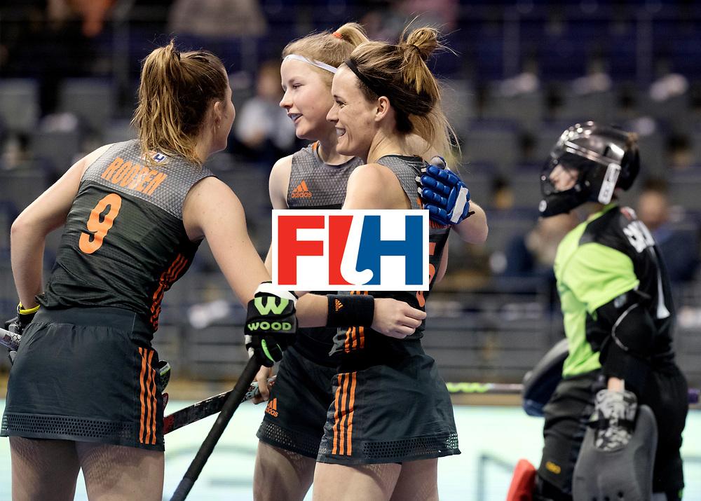 BERLIN - Indoor Hockey World Cup<br /> Women: Netherlands - United States<br /> foto: Donja Zwinkels celebrates her goal.<br /> WORLDSPORTPICS COPYRIGHT FRANK UIJLENBROEK
