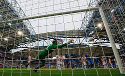 Stipe Pletikosa of Croatia when Andrea Pirlo of Italy scored during the UEFA EURO 2012 group C match between Italy and Croatia at Poznan City Stadium on June 14, 2012 in Poznan, Poland.  (Photo by Vid Ponikvar / Sportida.com)