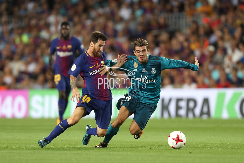 Lionel Messi of FC Barcelona duels for the ball with Mateo Kovacic of Real Madrid during the Spanish Super Cup football match between FC Barcelona and Real Madrid on August 13, 2017 at Camp Nou stadium in Barcelona, Spain. - Photo Manuel Blondeau / AOP Press / ProSportsImages / DPPI