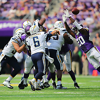 MINNEAPOLIS, MN - AUGUST 28: Mackensie Alexander #20 of the Minnesota Vikings attempts to block the pass from Mike Bercovici #6 of the San Diego Chargers in the fourth quarter against the San Diego Chargers at US Bank stadium on August 28, 2016 in Minneapolis, Minnesota. (Photo by Adam Bettcher/Getty Images) *** Local Caption *** Mackensie Alexander; Mike Bercovici