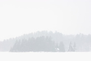 Island on Lake of Bays during snowfall. Muskoka Country. <br /> Baysville<br /> Ontario<br /> Canada