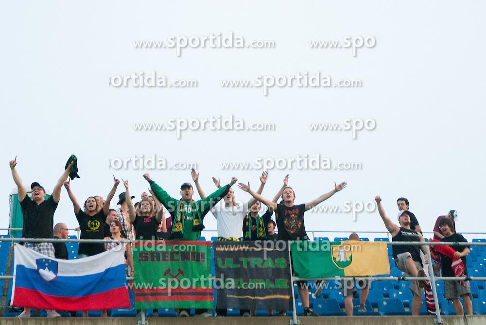 Fans of Rudar Ultras Velenje during football match between NK Celje and NK Rudar Velenje in 3rd Round of Prva liga NZS 2012/13, on July 28, 2012 in Arena Petrol, Celje, Slovenia. (Photo by Vid Ponikvar / Sportida.com)