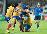 London, Great Britain,   Uini ATONIO, running with the ball during the Pool D game.  France vs Romania. 2015 Rugby World Cup. Venue. The Stadium Queen Elizabeth Olympic Park. Stratford. East London. England,, Wednesday  23/09/2015. <br /> [Mandatory Credit; Peter Spurrier/Intersport-images]