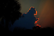 A storm cloud in the shape of Godzilla with a gorgeous sunset behind it from the beach on Jekyll Island Georgia.