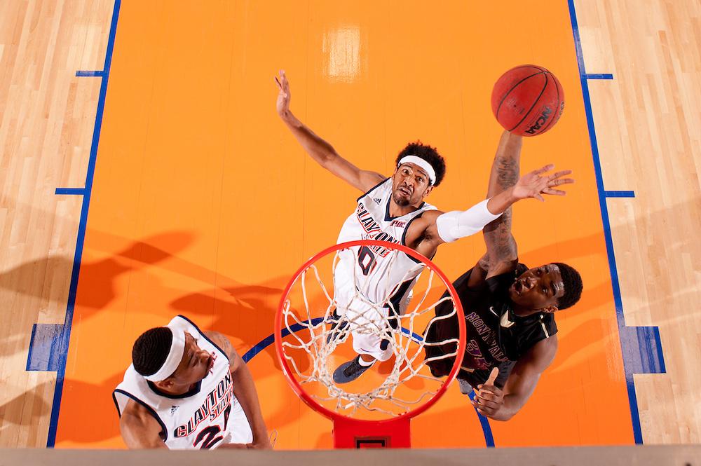 Feb. 09, 2013; Morrow, GA, USA; Clayton State men's basketball player Omari Murray against Montevallo at CSU. Photo by Kevin Liles/kdlphoto.com