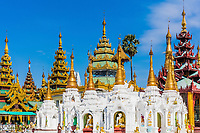 archictecture details of the Shwedagon Pagoda at Yangon (Rangoon) in Myanmar (Burma)