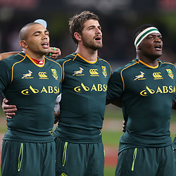 DURBAN, SOUTH AFRICA - JUNE 08: JJ Engelbrecht of South Africa with Bryan Habana of South Africa Willie le Roux of South Africa Bryan Habana of South Africa and Trevor Nyakane of South Africa during the Castle Incoming Tour match between South Africa and Italy at Growthpoint Kings Park on June 08, 2013 in Durban, South Africa. (Photo by Steve Haag/Gallo Images)