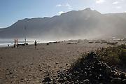 Atlantic Ocean coast beach and sea mist, Caleta de Famara, Lanzarote, Canary islands, Spain