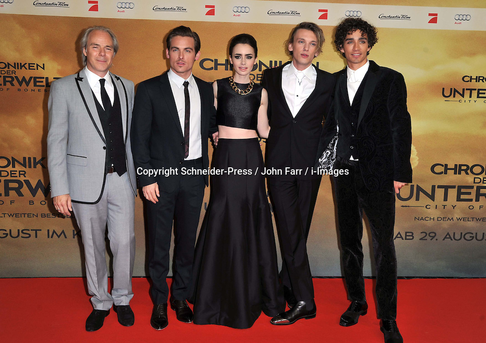 (L-R) Director Harald Zwart, Kevin Zegers, Lily Collins, Jamie Campbell Bower, Robert Sheehan arrive for the 'The Mortal Instruments: City of Bones' Germany premiere at Sony Centre on Tuesday August 20, 2013  in Berlin, Germany. Photo by Schneider-Press / John Farr / i-Images. <br /> UK &amp; USA ONLY