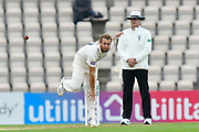 Gareth Berg of Hampshire bowling during the Specsavers County Champ Div 1 match between Hampshire County Cricket Club and Worcestershire County Cricket Club at the Ageas Bowl, Southampton, United Kingdom on 13 April 2018. Picture by Graham Hunt.