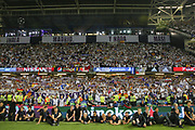 Real Madrid fans celebrate during the Champions League Final between Juventus and Real Madrid at the National Stadium of Wales, Cardiff, Wales on 3 June 2017. Photo by Phil Duncan.