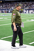 New Orleans Saints head coach Sean Payton looks on from the sideline during the NFL week 13 regular season football game against the Dallas Cowboys on Thursday, Nov. 29, 2018 in Arlington, Tex. The Cowboys won the game 13-10. (©Paul Anthony Spinelli)