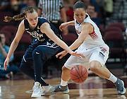 BYU's Lexi Eaton and Gonzaga's Haiden Palmer compete for a loose ball. (Austin Ilg photo, Gonzaga Bulletin)