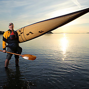 Joe Greenley, owner, designer, and builder of Redfish Kayaks in Port Townsend, Washington.