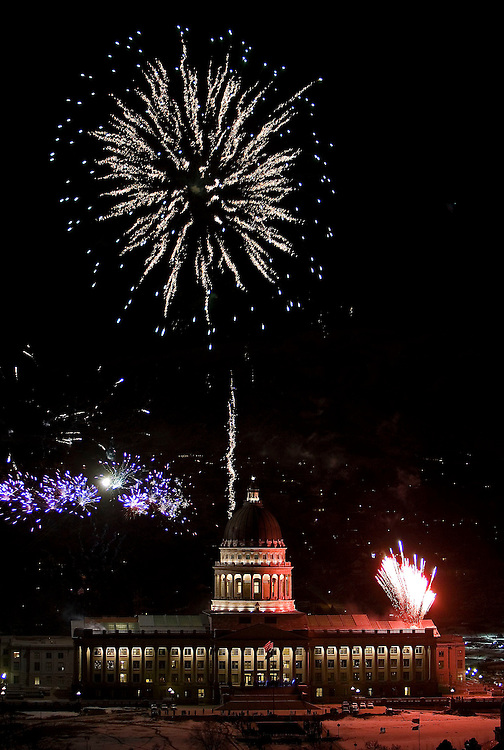 Fireworks explode over the Utah State Capitol at the re-dedication of the building in Salt Lake City, Utah Friday, Jan. 4, 2007.  August Miller