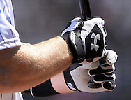 CHICAGO - APRIL 23:  A detailed view of a pair of UnderArmour batting gloves worn by Todd Frazier #21 of the Chicago White Sox during the game against the Texas Rangers on April 23, 2016 at U.S. Cellular Field in Chicago, Illinois.  The White Sox defeated the Rangers 4-3 in 11 innings.  (Photo by Ron Vesely)   Subject: Todd Frazier