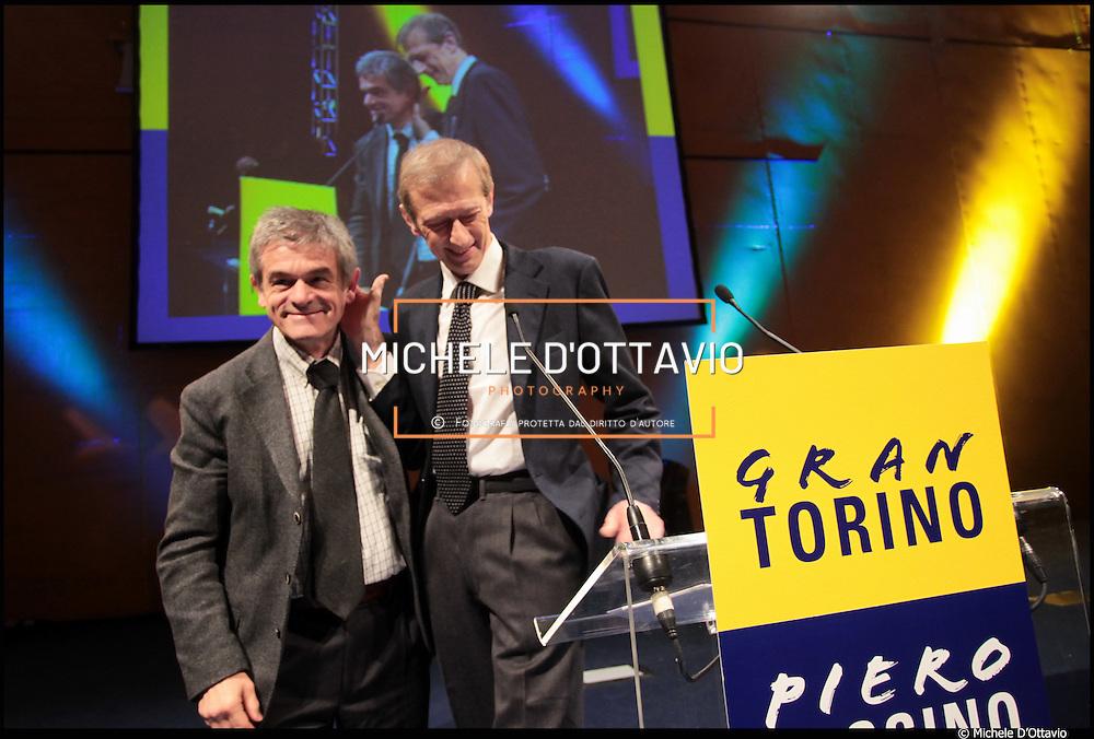 Nella fotografia: Sergio Chiamparino e Piero Fassino..16/01/11  Sala gialla del Lingotto di Torino, Piero Fassino ha aperto la sua campagna elettorale in vista delle primarie del centrosinistra del 27 febbraio che porteranno all'individuazione del candidato sindaco. Lo slogan della campagna è «Gran Torino».