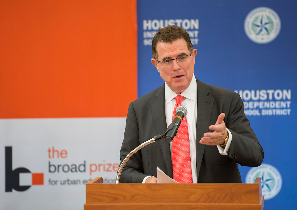 Houston ISD Superintendent Dr. Terry Grier comments during a press conference following a Broad Foundation research team tour at Ortiz Middle School, May 29, 2013.