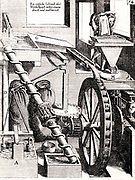Perpetual motion:  A grinding mill M, driven by a water wheel H, which is itself driven y waer from upper cistern F. In addition to driving the mill, the whater wheel also drives the water up again to the cistern by rotating the Archimedean screw Q, and the pumps B and C.  Engraving from 'Theatrum Machinarum Novum' by George Andreas Bockler (Nuremberg, 1673).