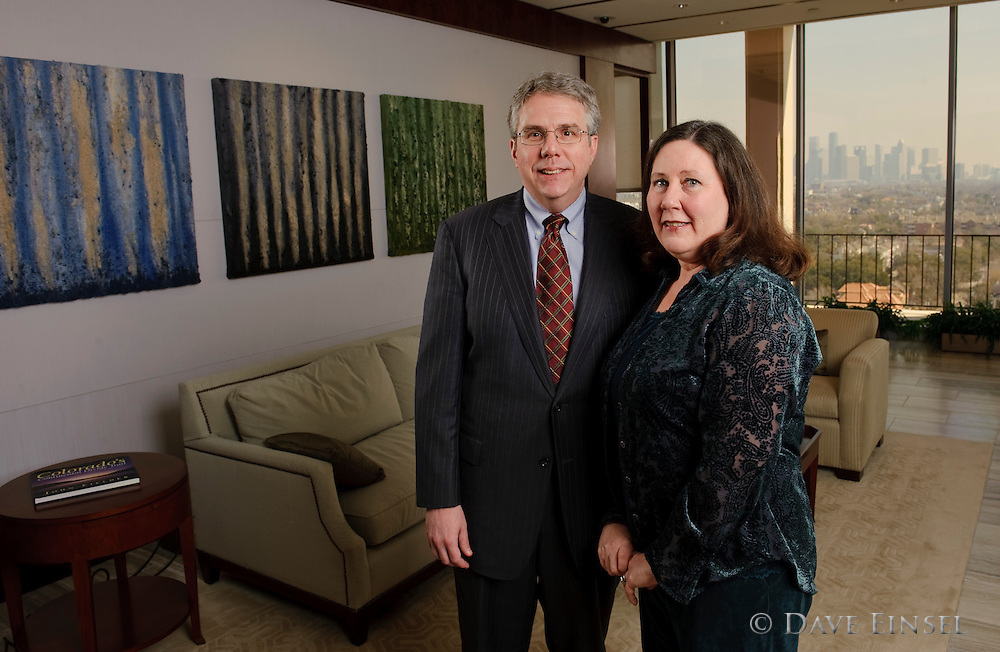 President & CEO D. Fort Flowers, Jr poses for a portrait with his wife, Beth, at the Sentinel Trust Company offices March 3, 2010 in Houston.