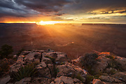 Sunset over the Grand Canyon. From Zuni Point on the South Rim.