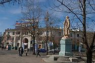 Mongolia. Ulaanbaatar. statue of Damdin Sükhbaatarin front of  national university of Mongolia  UlaanBaatar - Mongolia