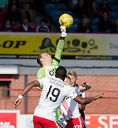 Kilmarnock&rsquo;s Jamie MacDonald tips away a cross - Dundee v Kilmarnock in the Ladbrokes Scottish Premiership at Dens Park, Dundee. Photo: David Young<br /> <br />  - &copy; David Young - www.davidyoungphoto.co.uk - email: davidyoungphoto@gmail.com