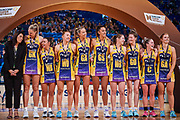 Coach Noeline Taurua with Sunshine Coast Lightning team.<br /> PERTH, AUSTRALIA - AUGUST 26: West Coast Fever vs the Sunshine Coast Lightning during the Suncorp Super Netball Grand Final match from Perth Arena - Sunday 26th August 2018 in Perth, Australia. (Photo by Daniel Carson/dcimages.org/Netball WA)