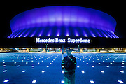 self-portrait; Mercedes-Benz Superdome exterior at night