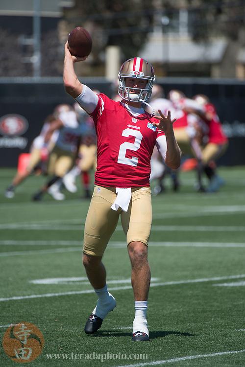 July 24, 2014; Santa Clara, CA, USA; San Francisco 49ers quarterback Blaine Gabbert (2) throws the football during training camp at the SAP Performance Facility.