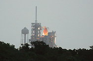 Atlantis on the launch pad at dawn, hours before launch.  STS-135 Atlantis blasted off on Friday, July 8, 2011.  It was the 135th and final shuttle launch, successfully capping off the 30-year-old space shuttle program.