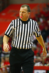 "31 January 2009: Terry Wymer sports a pink whistle with the cancer logo on it in recognition of this Coaches against Cancer game.  The Illinois State University Redbirds join the Bradley Braves in a tie for 2nd place in ""The Valley"" with a 69-65 win on Doug Collins Court inside Redbird Arena on the campus of Illinois State University in Normal Illinois"