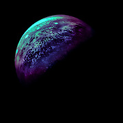 Processed version of Juno's 2018 raw photo of Jupiter. Colors scientifically psychedelic (not accurate).