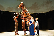 10/05//2012. London, UK. On stage for the first time Billy Elliot, Joey  the spectacular life size horse puppet  from War Horse, and Lissa Hermans, a blind singer from Chickenshed Theatre. All three will perform at the Jubilee Family Festival Presented on 2-3 June Hyde Park. Photo shows Curtis Jordan (horse handler), Adam Vesperman (Billy Elliot), Lissa Hermans and Joey (War Horse).