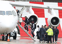 Jose Mourinho and Romelu Lukaku as the Manchester United team fly to Wales on Tuesday morning for their Carabao Cup match against Swansea City
