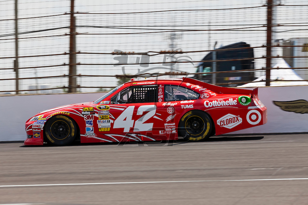 INDIANPOLIS, IN - JUL 29, 2012:  Juan Pablo Montoya (42) brings his car down the front stretch during the Curtiss Shaver 400 presented by Crown Royal Sprint Cup Series race at the Indianapolis Motor Speedway in Indianapolis, IN.
