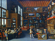 Connoisseurs in a Picture Gallery' . Flemish School c1620.