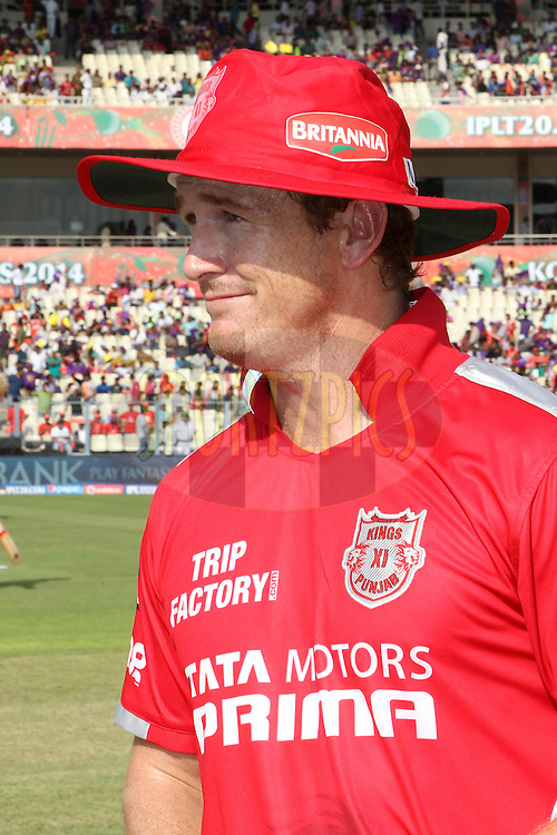 George Bailey of the Kings X1 Punjab before the toss during the first qualifier match (QF1) of the Pepsi Indian Premier League Season 2014 between the Kings XI Punjab and the Kolkata Knight Riders held at the Eden Gardens Cricket Stadium, Kolkata, India on the 28th May  2014<br /> <br /> Photo by Ron Gaunt / IPL / SPORTZPICS<br /> <br /> <br /> <br /> Image use subject to terms and conditions which can be found here:  http://sportzpics.photoshelter.com/gallery/Pepsi-IPL-Image-terms-and-conditions/G00004VW1IVJ.gB0/C0000TScjhBM6ikg