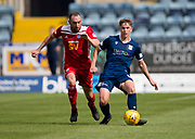 10th August 2019; Dens Park, Dundee, Scotland; SPFL Championship football, Dundee FC versus Ayr; Finlay Robertson of Dundee and Michael Moffat of Ayr United