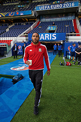 PARIS, FRANCE - Friday, June 24, 2016: Wales' captain Ashley Williams arrives for a training session at the Parc des Princes ahead of the Round of 16 UEFA Euro 2016 Championship match against Northern Ireland. (Pic by David Rawcliffe/Propaganda)